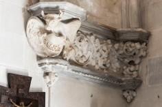 Vista general del capitell de Sant Lluc de l'oratori de Can Gussinyer, a Castellfollit de la Roca, 2018 (ACGAX. Col·lecció d'imatges de l'ACGAX. Autors: Quim Roca i Anna Rius)
