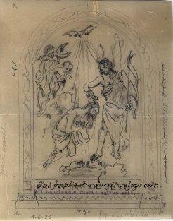 Dibuix per decorar el baptisteri de l'església de Sant Joan, a Palau-saverdera, 1944