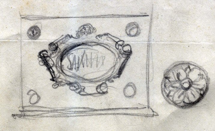 Esbós d'un element decoratiu de l'altar del Roser de l'església de Santa Maria de Sales, a la Cellera de Ter, 1947