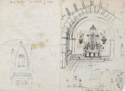 Esbós del projecte de l'altar de l'ermita de Sant Onofre, a Palau-saverdera, 1944