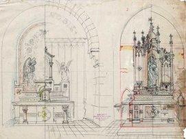 Projecte de l'altar de la Puríssima de l'església de Sant Julià i Santa Basilissa, a Verges, 1948