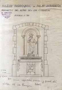 Projecte de l'altar del Sagrat Cor de l'església de Sant Joan, a Palau-saverdera, 1944