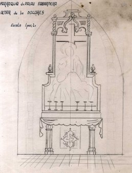 Projecte de l'altar dels Dolors de l'església de Sant Joan, a Palau-saverdera, 1944