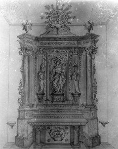 Reproducció de l'altar del Roser de l'església de Santa Maria de Sales, a la Cellera de Ter, 1947 (ACGAX. Fons Sadurní Brunet Pi. Autor: Sadurní Brunet)