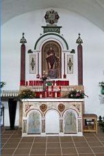 Vista frontal de l'altar de l'ermita de Sant Onofre, a Palau-saverdera, 2014 (Foto: www.google.com.maps)