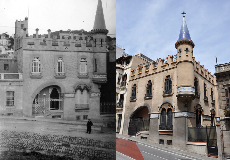 Vista frontal de la casa Comas d'Argemir, a Barcelona, entre 1909 i 1912 (ACGAX. Fons Sadurní Brunet Pi. Autor: Sadurní Brunet) / Vista lateral de la casa Comas d'Argemir, 2017 (Google)